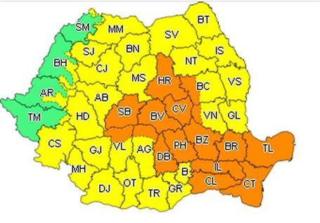Cod portocaliu de ploi și vijelii valabil și pentru județul Brăila