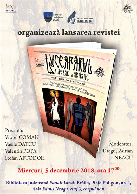 """Astăzi are loc lansarea oficială a revistei """"Luceafărul literar și artistic"""""""