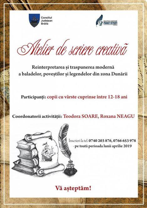 Nou la Biblioteca Județeană Brăila - Atelier de scriere creativă