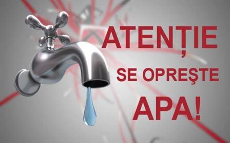 Atenție! Joi se oprește apa în anumite zone din municipiu