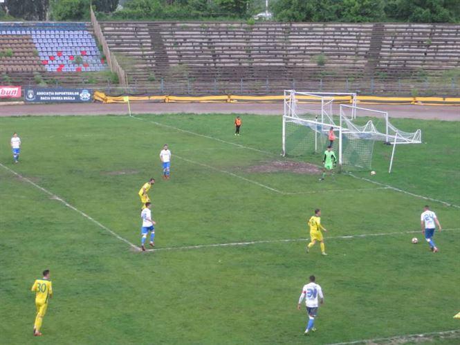 Șase goluri primite de Dacia Unirea în meciul cu CS Mioveni