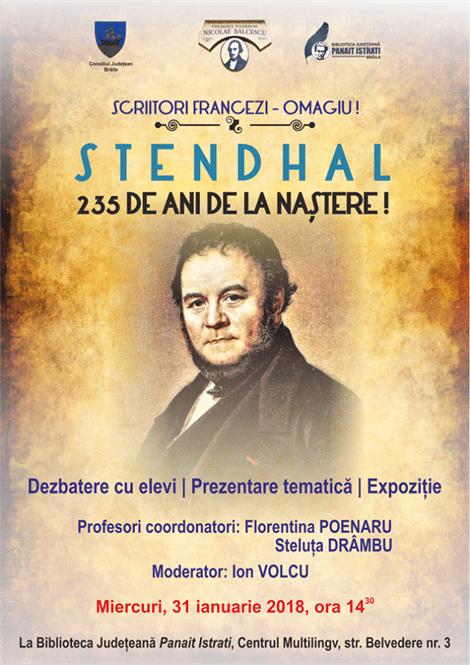 "Stendhal omagiat la Biblioteca Județeană ""Panait Istrati"" Brăila"