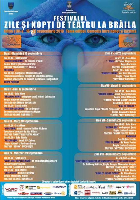 """Programul și distribuțiile spectacolelor de la Festivalul """"Zile și nopți de teatru la Brăila"""""""