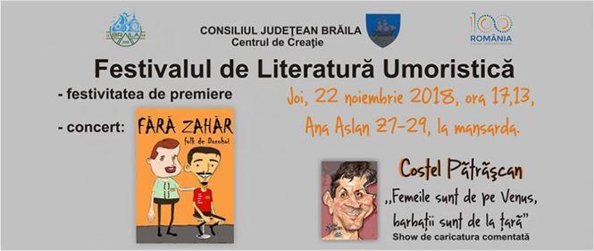 """Pătrășcan și """"Fără Zahăr"""" la Festivalul de Literatură Umoristică"""