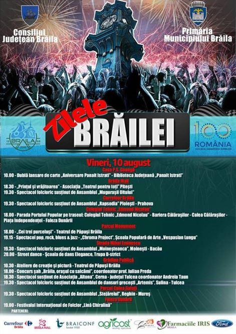 Programul manifestarilor dedicate Zilelor Brailei pentru ziua de vineri
