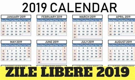 Zile libere în anul 2019