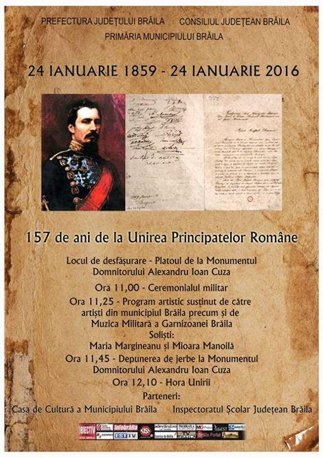 Programul manifestărilor dedicate Unirii Principatelor Romane